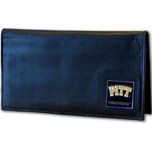 Deluxe College Checkbook Boxed- Pittsburg Panthers - Our deluxe college checkbook cover is made of high quality leather and includes a card holder, clear ID window, and inside zipper pocket for added storage. Team logo square is sculpted and enameled with fine detail. Packaged in a windowed box. Thank you for shopping with CrazedOutSports.com