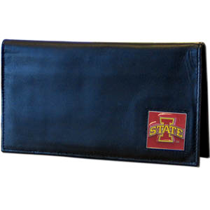 Deluxe College Checkbook Boxed- Iowa St. Cyclones - Iowa St. Cyclones deluxe college checkbook cover is made of high quality leather and includes a card holder, clear ID window, and inside zipper pocket for added storage. Team logo square is sculpted and enameled with fine detail. Packaged in a windowed box. Thank you for shopping with CrazedOutSports.com