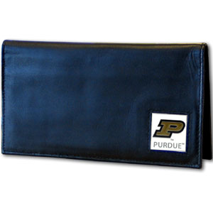 Deluxe College Checkbook Boxed- Purdue - Our deluxe college checkbook cover is made of high quality leather and includes a card holder, clear ID window, and inside zipper pocket for added storage. Team logo square is sculpted and enameled with fine detail. Packaged in a windowed box. Thank you for shopping with CrazedOutSports.com