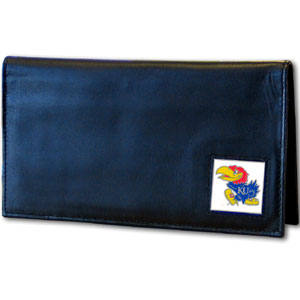 Deluxe College Checkbook Boxed- Kansas Jayhawks - This deluxe Kansas Jayhawks college checkbook cover is made of high quality leather and includes a card holder, clear ID window, and inside zipper pocket for added storage. Team logo square is sculpted and enameled with fine detail. Packaged in a windowed box. Thank you for shopping with CrazedOutSports.com