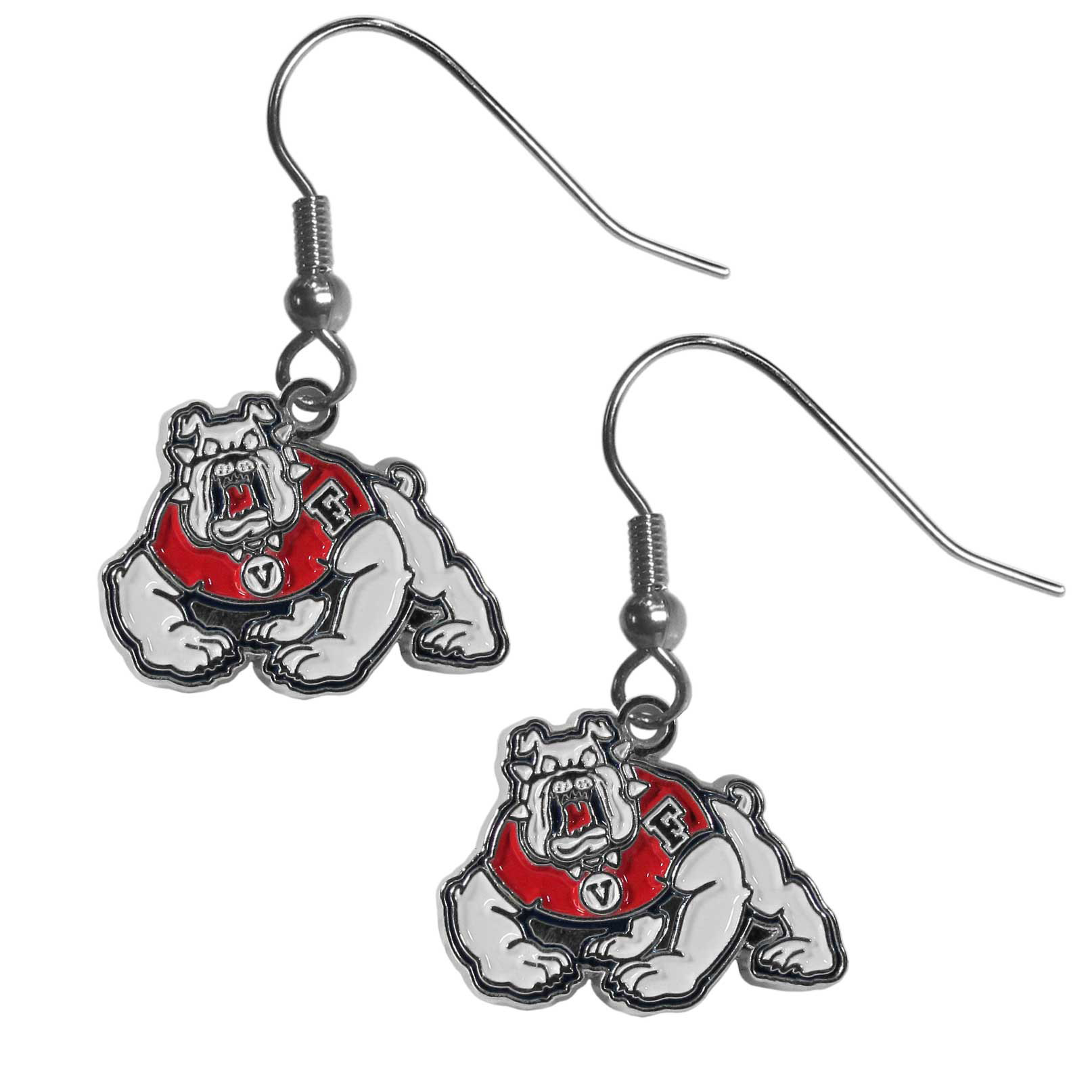 Fresno St. Bulldogs Chrome Dangle Earrings - These on fleek Fresno St. Bulldogs Dangle earrings are a lightweight and casual fashion earring with a striking team charm. These trendy understated earrings feature a carved and detailed enameled charm. Sporty meets fashion-forward with these spirited earrings that would make the perfect gift for any female fan. These trendy earrings are the perfect for every day but especially fun to glam up on game-day.