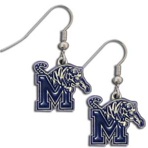 Memphis Tigers Dangle Earrings - Memphis Tigers Dangle enameled zinc college logo earrings. These Memphis Tigers Dangle Earrings are a great way to show off your team spirit! Check out our entire licensed sports  jewelry line! Thank you for shopping with CrazedOutSports.com