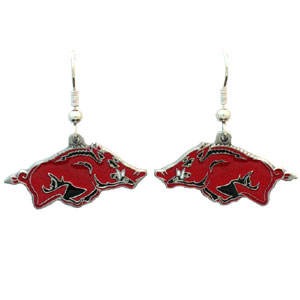 College Dangle Earrings - Arkansas Razorbacks - Enameled zinc college logo earrings. A great way to show off your Arkansas Razorbacks team spirit! Check out our entire licensed sports  jewelry line! Thank you for shopping with CrazedOutSports.com