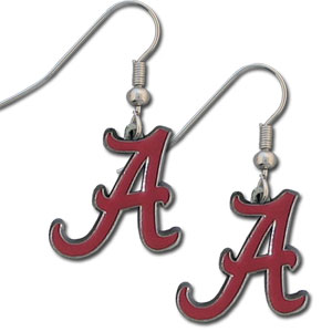 College Dangle Earrings - Alabama Crimson Tide - Enameled zinc college logo earrings. A great way to show off your team spirit! Check out our entire licensed sports  jewelry line! Thank you for shopping with CrazedOutSports.com