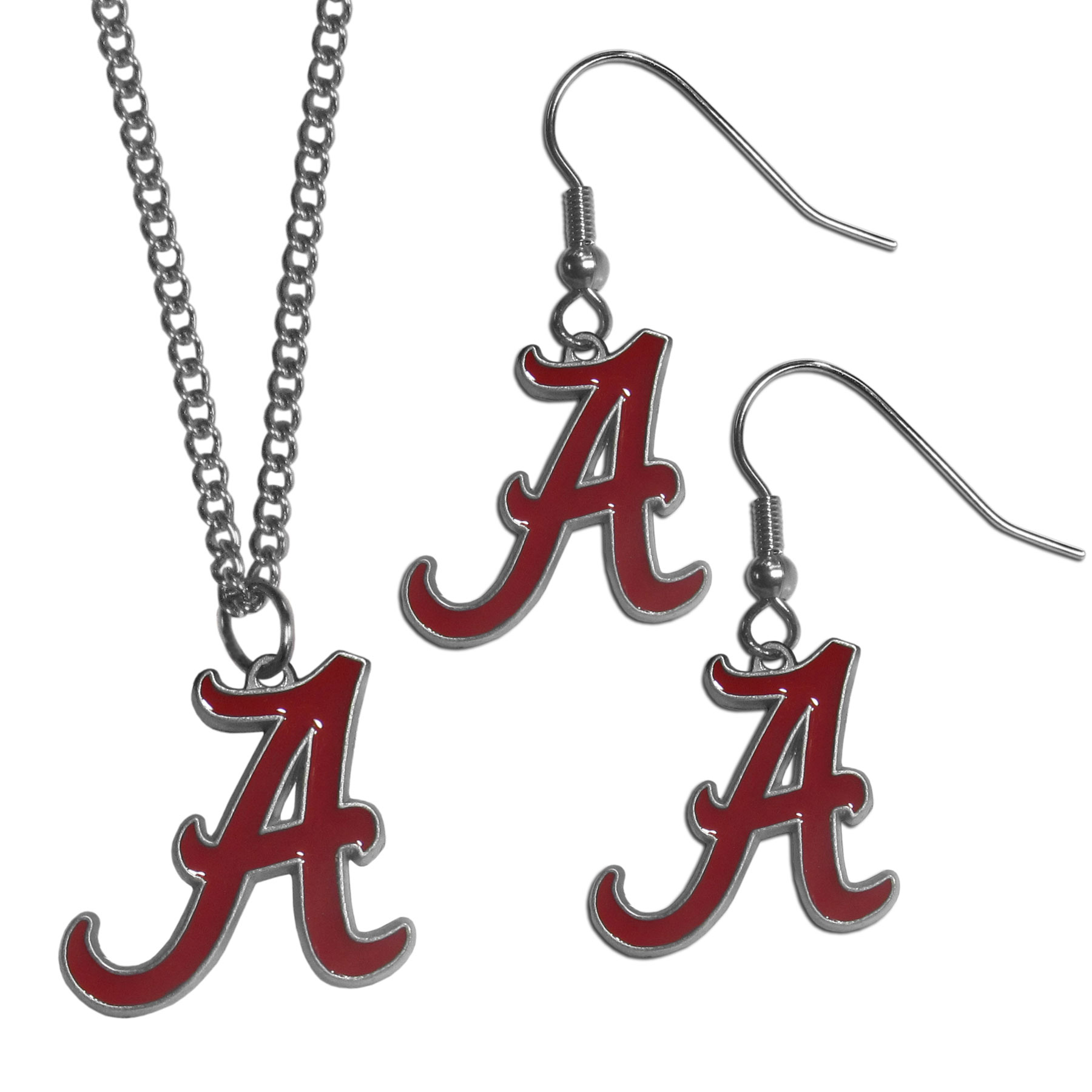 Alabama Crimson Tide Dangle Earrings and Chain Necklace Set - This classic jewelry set contains are most popular Alabama Crimson Tide dangle earrings and 22 inch chain necklace. The trendy, dangle earrings are lightweight and feature a fully cast metal team charm with enameled team colors. The matching necklace completes this fashion forward combo and is a spirited set that is perfect for game day but nice enough for everyday.