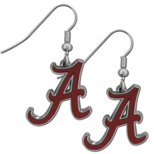 Alabama Chrome Dangle Earrings - Our officially licensed college dangle earrings are fully cast with exceptional detail and a hand enameled finish. The earrings have a high polish nickel free chrome finish and hypoallergenic fishhook posts. Thank you for shopping with CrazedOutSports.com