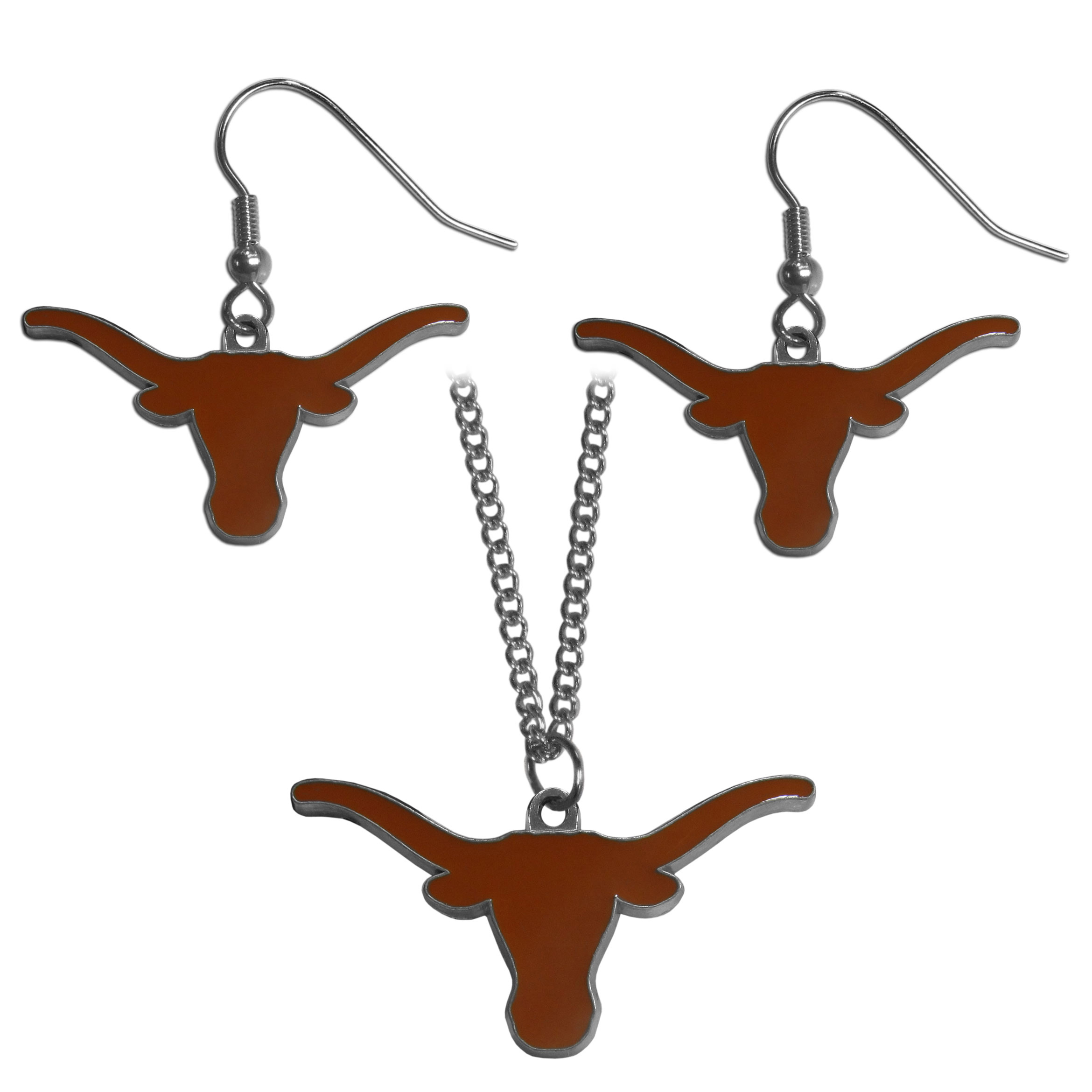 Texas Longhorns Dangle Earrings and Chain Necklace Set - This classic jewelry set contains are most popular Texas Longhorns dangle earrings and 22 inch chain necklace. The trendy, dangle earrings are lightweight and feature a fully cast metal team charm with enameled team colors. The matching necklace completes this fashion forward combo and is a spirited set that is perfect for game day but nice enough for everyday.