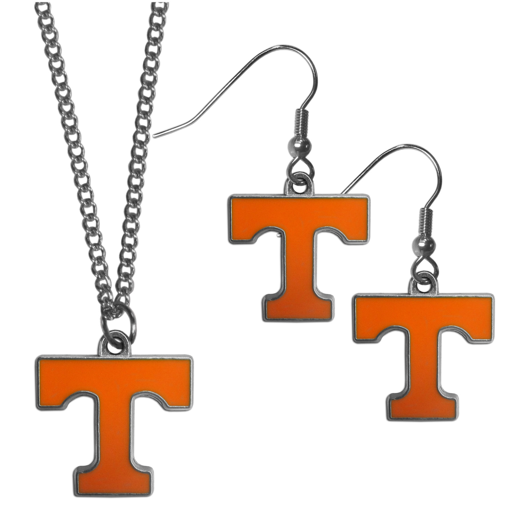 Tennessee Volunteers Dangle Earrings and Chain Necklace Set - This classic jewelry set contains are most popular Tennessee Volunteers dangle earrings and 22 inch chain necklace. The trendy, dangle earrings are lightweight and feature a fully cast metal team charm with enameled team colors. The matching necklace completes this fashion forward combo and is a spirited set that is perfect for game day but nice enough for everyday.