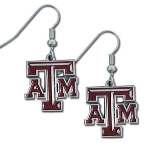 College Dangle Earrings - Texas AandM Aggies - Enameled zinc college logo earrings. A great way to show off your team spirit! Check out our entire licensed sports  jewelry line! Thank you for shopping with CrazedOutSports.com