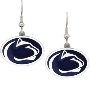 College Dangle Earrings - Penn State Nittany Lions - Enameled zinc college logo earrings. A great way to show off your team spirit! Check out our entire licensed sports  jewelry line! Thank you for shopping with CrazedOutSports.com