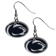 Penn St. Nittany Lions Chrome Dangle Earrings - Our officially licensed chrome dangle earrings have fully cast Penn St. Nittany Lions charms with exceptional detail and a hand enameled finish. The earrings have a high polish nickel free chrome finish and hypoallergenic fishhook posts. Thank you for shopping with CrazedOutSports.com