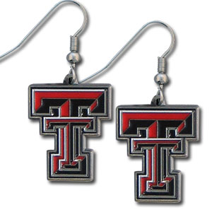College Dangle Earrings - Texas Tech Raiders - Enameled zinc college logo earrings. A great way to show off your team spirit! Check out our entire licensed sports  jewelry line! Thank you for shopping with CrazedOutSports.com