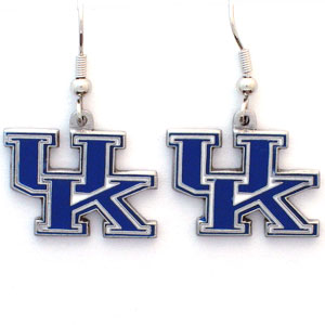 College Dangle Earrings - Kentucky Wildcats - Enameled zinc college logo earrings. A great way to show off your team spirit! Check out our entire licensed sports  jewelry line! Thank you for shopping with CrazedOutSports.com