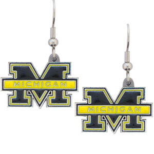 Michigan Dangle Earrings - Enameled zinc college logo earrings. A great way to show off your team spirit! Check out our entire licensed sports  jewelry line! Thank you for shopping with CrazedOutSports.com