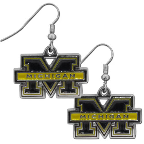 Michigan Wolverines Chrome Dangle Earrings - Our officially licensed Michigan Wolverines Chrome Dangle Earrings are fully cast with exceptional detail and a hand enameled finish. The Michigan Wolverines Chrome Dangle Earrings have a high polish nickel free chrome finish and hypoallergenic fishhook posts. Thank you for shopping with Crazed Out Sports.com