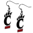 Cincinnati Bearcats Dangle Earrings - Every woman has her favorite pair of earrings. Why not make our most popular earrings every woman's favorite earrings. Our officially licensed Cincinnati Bearcats zinc dangle earrings are beautifully detailed with hand colored enamel team logos that define these classic dangle earrings. They add the perfect touch of spirit to any game day or every day outfit. The earrings have a high polish nickel free chrome finish and hypoallergenic fishhook posts.