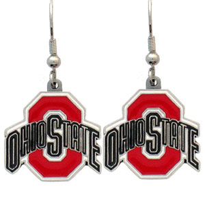 College Dangle Earrings - Ohio State Buckeyes - Enameled zinc college logo earrings. A great way to show off your team spirit! Check out our entire licensed sports  jewelry line! Thank you for shopping with CrazedOutSports.com