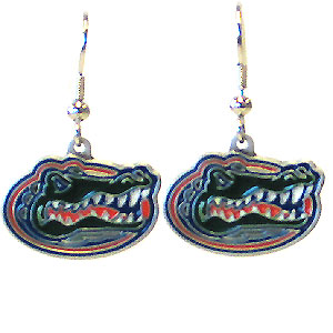 College Dangle Earrings - Florida Gators - Enameled zinc Florida Gators college logo earrings. A great way to show off your Florida Gators team spirit! Check out our entire licensed sports  jewelry line! Thank you for shopping with CrazedOutSports.com
