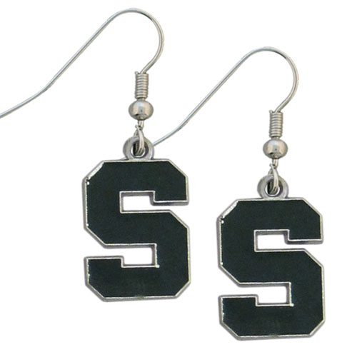 Michigan St. Spartans Dangle Earrings - Enameled zinc college logo Michigan St. Spartans Dangle Earrings. Michigan St. Spartans Dangle Earrings is a great way to show off your team spirit! Check out our entire licensed sports  jewelry line! Thank you for shopping with CrazedOutSports.com