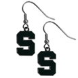 Michigan St. Spartans Chrome Dangle Earrings - These officially licensed Michigan St. Spartans Chrome Dangle Earrings have fully cast Michigan St. Spartans charms with exceptional detail and a hand enameled finish. The Michigan St. Spartans Chrome Dangle Earrings have a high polish nickel free chrome finish and hypoallergenic fishhook posts. Thank you for shopping with CrazedOutSports.com