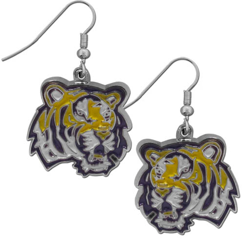 LSU Tigers Chrome Dangle Earrings - These officially licensed LSU Tigers college dangle earrings are fully cast with exceptional detail and a hand enameled finish. The earrings have a high polish nickel free chrome finish and hypoallergenic fishhook posts. Thank you for shopping with CrazedOutSports.com
