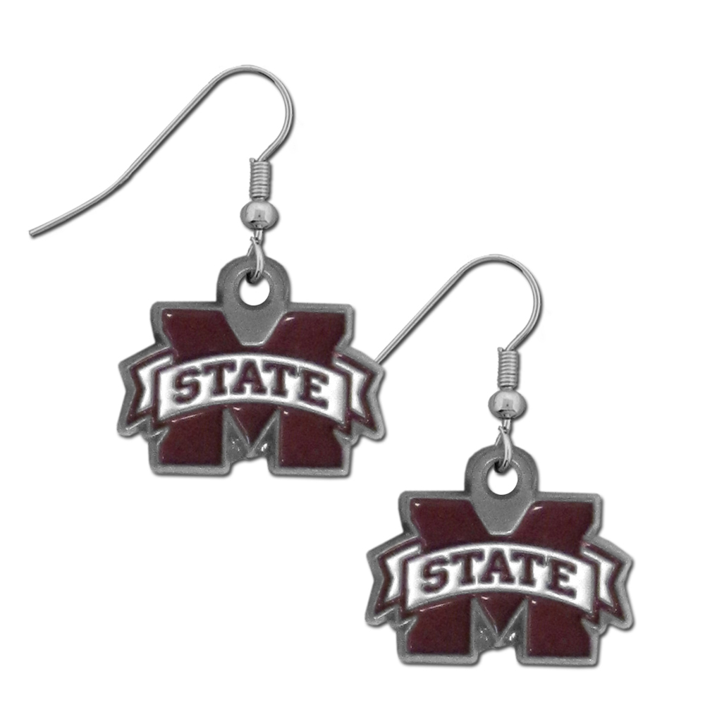 Mississippi St. Bulldogs Dangle Earrings - Every woman has her favorite pair of earrings. Why not make our most popular earrings every woman's favorite earrings. Our officially licensed Mississippi St. Bulldogs zinc dangle earrings are beautifully detailed with hand colored enamel team logos that define these classic dangle earrings. They add the perfect touch of spirit to any game day or every day outfit. The earrings have a high polish nickel free chrome finish and hypoallergenic fishhook posts.