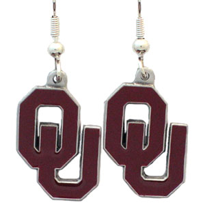 College Dangle Earrings - Oklahoma Sooners0 - Enameled zinc college logo earrings. A great way to show off your team spirit! Check out our entire licensed sports  jewelry line! Thank you for shopping with CrazedOutSports.com