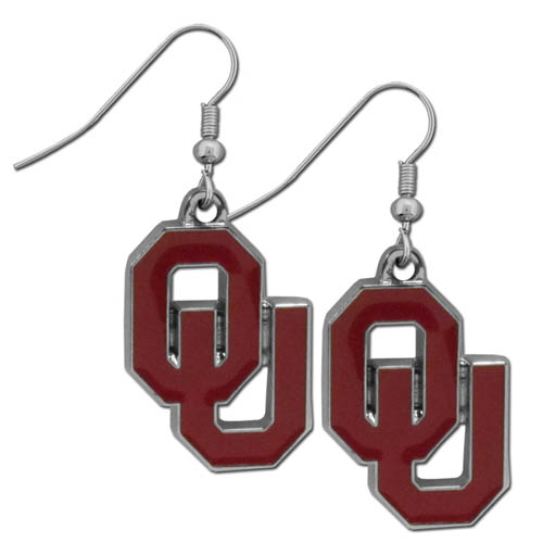 Oklahoma Chrome Dangle Earrings - Our officially licensed college dangle earrings are fully cast with exceptional detail and a hand enameled finish. The earrings have a high polish nickel free chrome finish and hypoallergenic fishhook posts. Thank you for shopping with CrazedOutSports.com