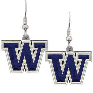 College Dangle Earrings - Washington Huskies - Enameled zinc college logo earrings. A great way to show off your team spirit! Check out our entire licensed sports  jewelry line! Thank you for shopping with CrazedOutSports.com