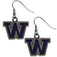 Washington Huskies Chrome Dangle Earrings - Our officially licensed chrome dangle earrings have fully cast Washington Huskies charms with exceptional detail and a hand enameled finish. The earrings have a high polish nickel free chrome finish and hypoallergenic fishhook posts. Thank you for shopping with CrazedOutSports.com