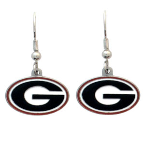 College Dangle Earrings - Georgia Bulldogs - Enameled zinc college logo earrings. A great way to show off your team spirit! Check out our entire licensed sports  jewelry line! Thank you for shopping with CrazedOutSports.com