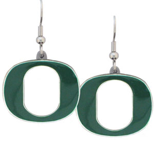 College Dangle Earrings - Oregon Ducks - Enameled zinc college logo earrings. A great way to show off your team spirit! Check out our entire licensed sports  jewelry line! Thank you for shopping with CrazedOutSports.com