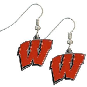 Wisconsin Dangle Earrings - Enameled zinc college logo earrings. A great way to show off your team spirit! Check out our entire licensed sports  jewelry line! Thank you for shopping with CrazedOutSports.com