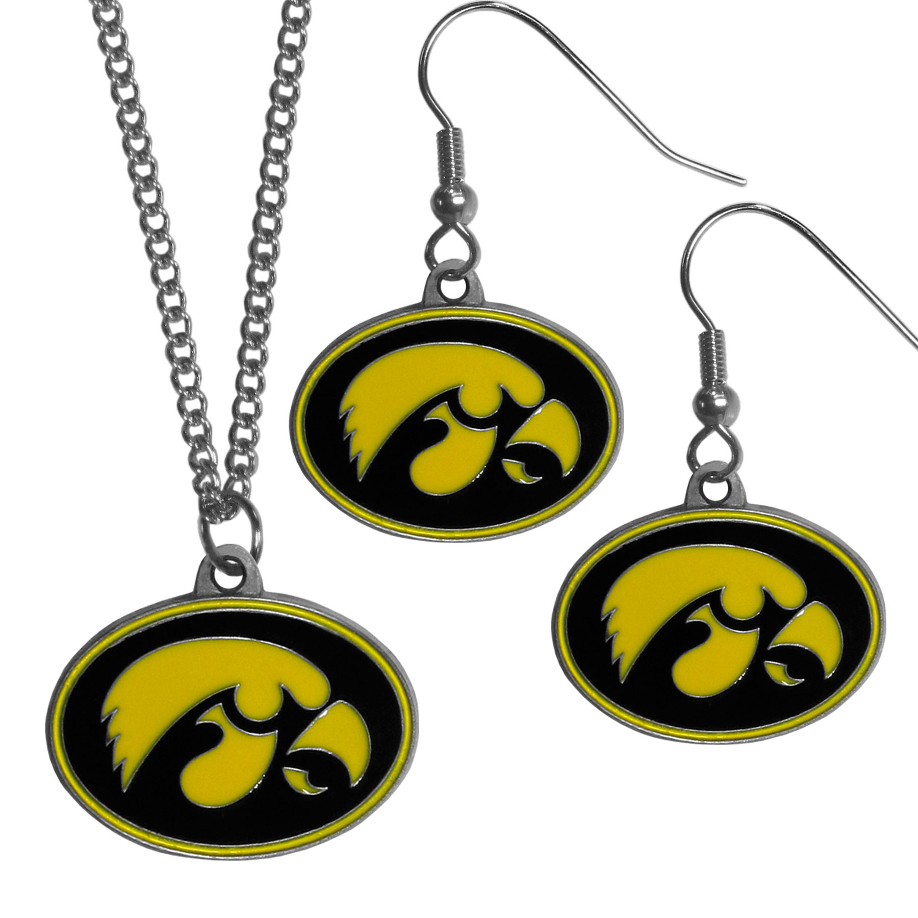 Iowa Hawkeyes Dangle Earrings and Chain Necklace Set - This classic jewelry set contains are most popular Iowa Hawkeyes dangle earrings and 22 inch chain necklace. The trendy, dangle earrings are lightweight and feature a fully cast metal team charm with enameled team colors. The matching necklace completes this fashion forward combo and is a spirited set that is perfect for game day but nice enough for everyday.