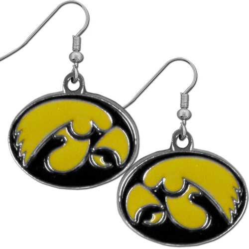 Iowa Hawkeyes Chrome Dangle Earrings - These officially licensed Iowa Hawkeyes college dangle earrings are fully cast with exceptional detail and a hand enameled finish. The earrings have a high polish nickel free chrome finish and hypoallergenic fishhook posts. Thank you for shopping with CrazedOutSports.com