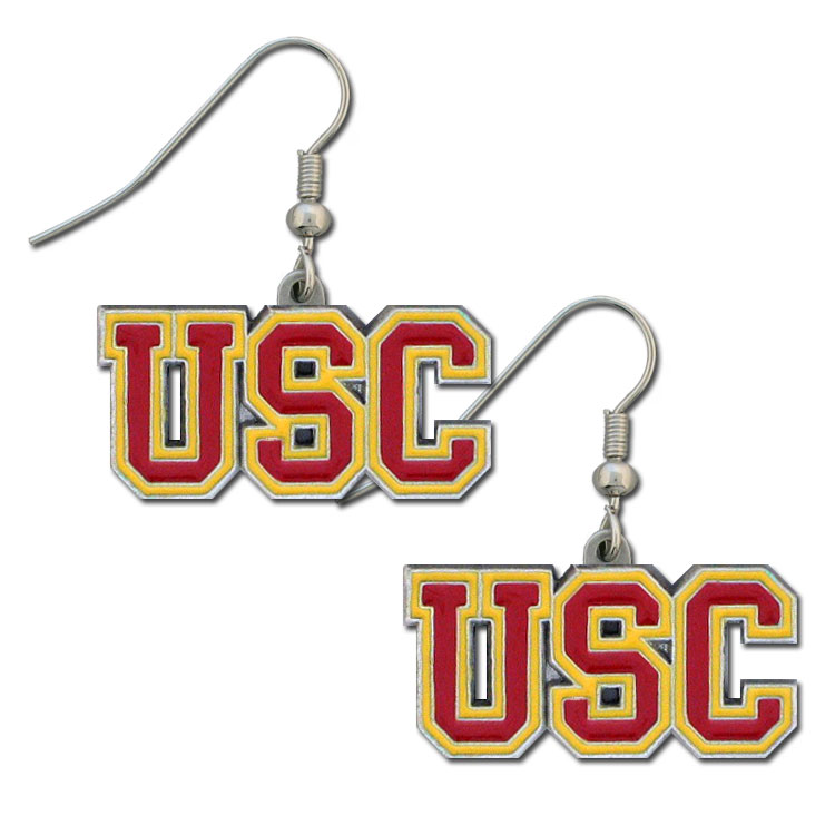 College Dangle Earrings - USC Trojans - Enameled zinc college logo earrings. A great way to show off your team spirit! Check out our entire licensed sports  jewelry line! Thank you for shopping with CrazedOutSports.com