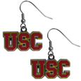 USC Trojans Chrome Dangle Earrings - Our officially licensed chrome dangle earrings have fully cast USC Trojans charms with exceptional detail and a hand enameled finish. The earrings have a high polish nickel free chrome finish and hypoallergenic fishhook posts. Thank you for shopping with CrazedOutSports.com