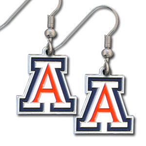College Dangle Earrings - Arizona Wildcats - Enameled zinc Arizona Wildcats college logo earrings. A great way to show off your team spirit! Check out our entire licensed sports  jewelry line! Thank you for shopping with CrazedOutSports.com