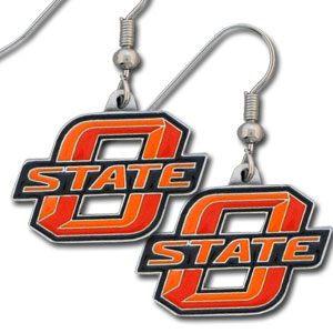 College Dangle Earrings - Oklahoma St. Cowboys - Enameled zinc college logo earrings. A great way to show off your team spirit! Check out our entire licensed sports  jewelry line! Thank you for shopping with CrazedOutSports.com