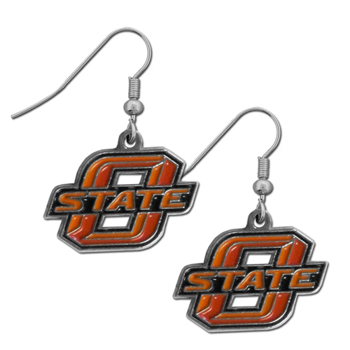 Oklahoma St. Chrome Dangle Earrings - Our officially licensed college dangle earrings are fully cast with exceptional detail and a hand enameled finish. The earrings have a high polish nickel free chrome finish and hypoallergenic fishhook posts. Thank you for shopping with CrazedOutSports.com