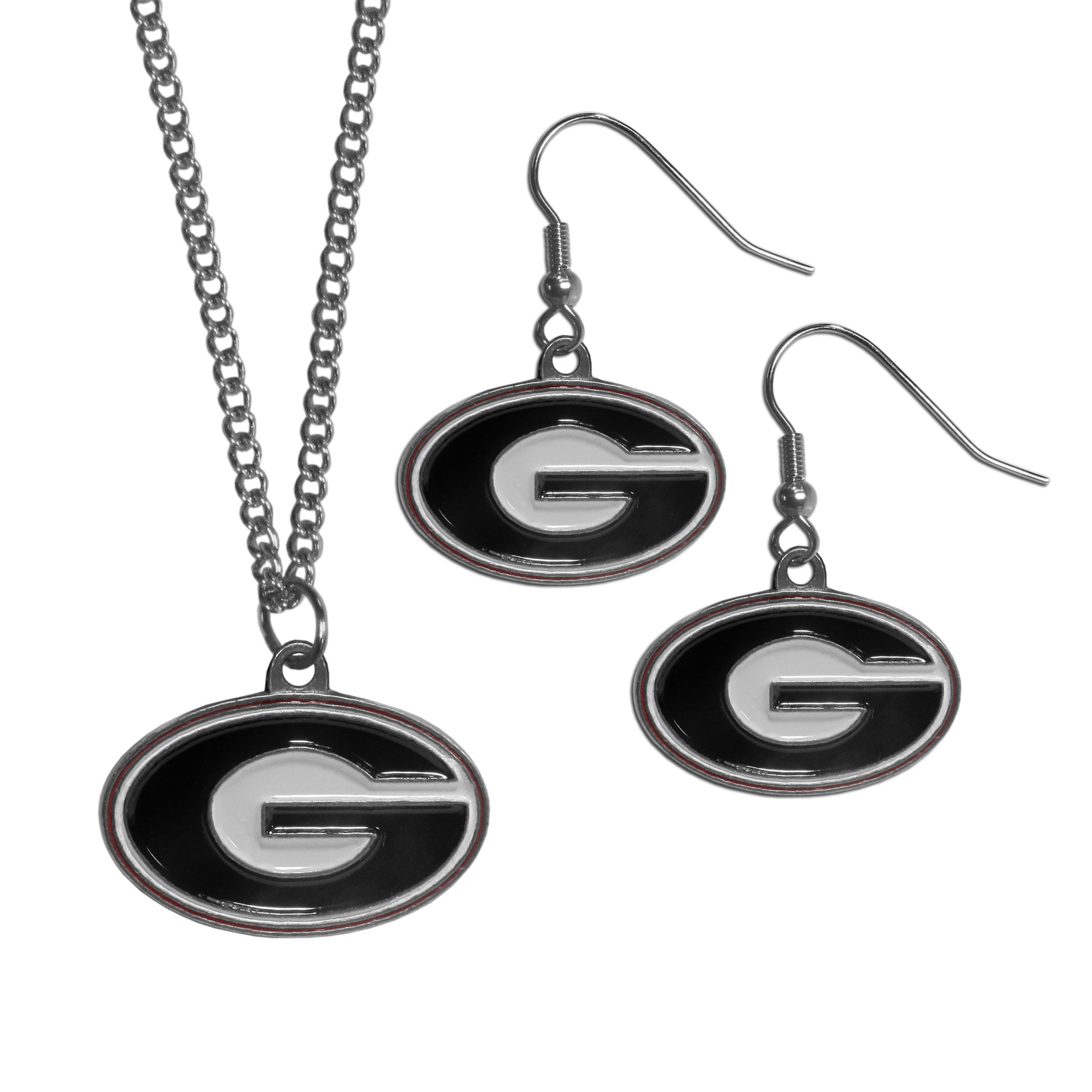 Georgia Bulldogs Dangle Earrings and Chain Necklace Set - This classic jewelry set contains are most popular Georgia Bulldogs dangle earrings and 22 inch chain necklace. The trendy, dangle earrings are lightweight and feature a fully cast metal team charm with enameled team colors. The matching necklace completes this fashion forward combo and is a spirited set that is perfect for game day but nice enough for everyday.