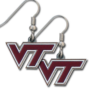 College Dangle Earrings - Virginia Tech Hokies - Enameled zinc college logo earrings. A great way to show off your team spirit! Check out our entire licensed sports  jewelry line! Thank you for shopping with CrazedOutSports.com