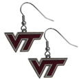 Virginia Tech Hokies Chrome Dangle Earrings - Our officially licensed chrome dangle earrings have fully cast Virginia Tech Hokies charms with exceptional detail and a hand enameled finish. The earrings have a high polish nickel free chrome finish and hypoallergenic fishhook posts. Thank you for shopping with CrazedOutSports.com