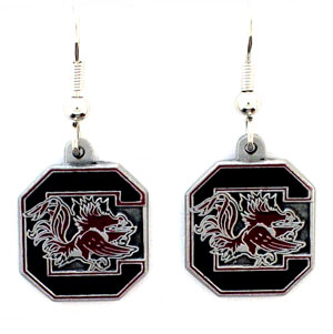 College Dangle Earrings - S. Carolina Gamecocks - Enameled zinc college logo earrings. A great way to show off your team spirit! Check out our entire licensed sports  jewelry line! Thank you for shopping with CrazedOutSports.com