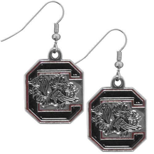 S. Carolina Chrome Dangle Earrings - Our officially licensed college dangle earrings are fully cast with exceptional detail and a hand enameled finish. The earrings have a high polish nickel free chrome finish and hypoallergenic fishhook posts. Thank you for shopping with CrazedOutSports.com