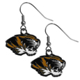 Missouri Tigers Chrome Dangle Earrings - Our officially licensed chrome dangle earrings have fully cast Missouri Tigers charms with exceptional detail and a hand enameled finish. The earrings have a high polish nickel free chrome finish and hypoallergenic fishhook posts. Thank you for shopping with CrazedOutSports.com