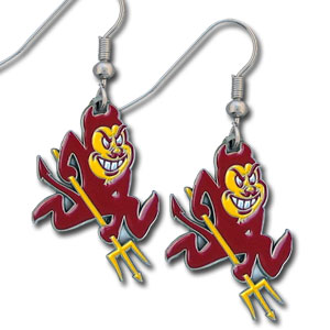 College Dangle Earrings - Arizona St Sun Devils - Enameled zinc Arizona State Sun Devils college logo earrings. A great way to show off your team spirit! Check out our entire licensed sports  jewelry line! Thank you for shopping with CrazedOutSports.com