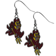Arizona St. Sun Devils Chrome Dangle Earrings - Our officially licensed chrome dangle earrings have fully cast Arizona St. Sun Devils charms with exceptional detail and a hand enameled finish. The earrings have a high polish nickel free chrome finish and hypoallergenic fishhook posts. Thank you for shopping with CrazedOutSports.com