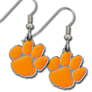 College Dangle Earrings - Clemson Tigers - Enameled zinc college logo earrings. A great way to show off your team spirit! Check out our entire licensed sports  jewelry line! Thank you for shopping with CrazedOutSports.com