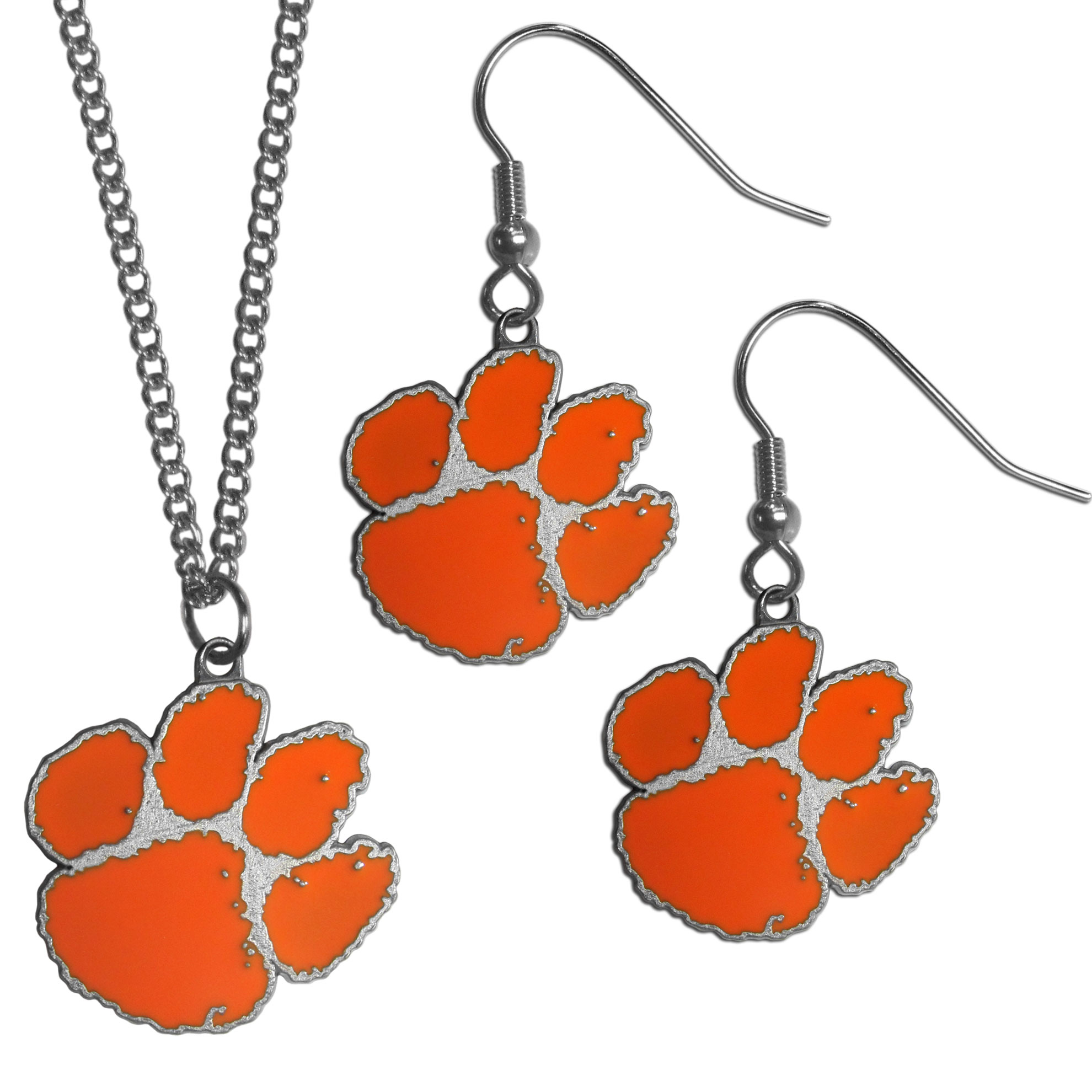 Clemson Tigers Dangle Earrings and Chain Necklace Set - This classic jewelry set contains are most popular Clemson Tigers dangle earrings and 22 inch chain necklace. The trendy, dangle earrings are lightweight and feature a fully cast metal team charm with enameled team colors. The matching necklace completes this fashion forward combo and is a spirited set that is perfect for game day but nice enough for everyday.